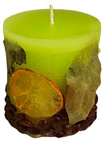 Candle cylinder Potpourri Fruechte (fruits) lime green