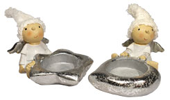 Couple of angels, tealight holders with hat